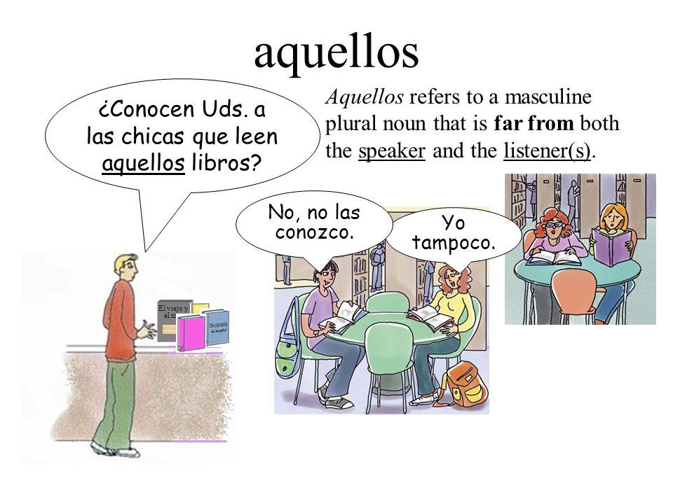 Summary éste, ésta = this one éstos, éstas = these (ones) ése, ésa = that one ésos, ésas = those (ones) aquél, aquélla = that one (over there) aquéllos, aquéllas = those (ones) (over there)