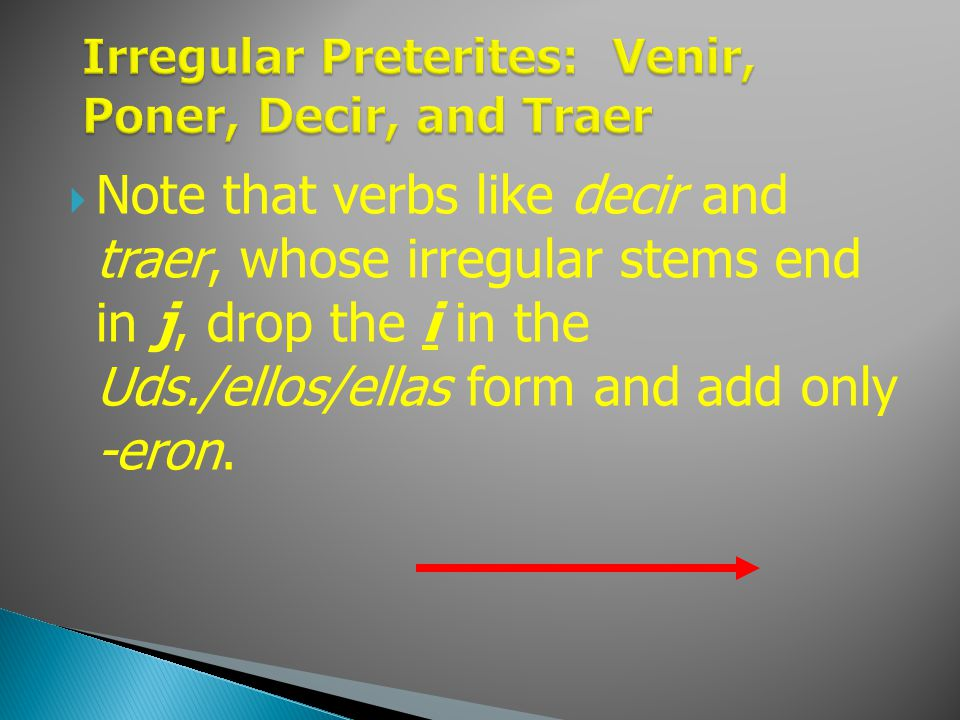 Note that verbs like decir and traer, whose irregular stems end in j, drop the i in the Uds./ellos/ellas form and add only -eron.