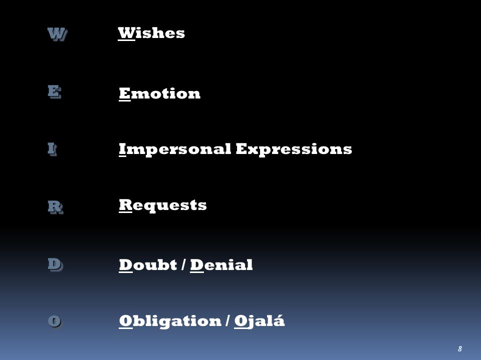 8 WEIRDOWEIRDO Wishes Emotion Impersonal Expressions Requests Doubt / Denial Obligation / Ojalá