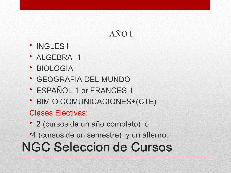 NGC Seleccion de Cursos AÑO 1 INGLES I ALGEBRA 1 BIOLOGIA GEOGRAFIA DEL MUNDO ESPAÑOL 1 or FRANCES 1 BIM O COMUNICACIONES+(CTE) Clases Electivas: 2 (cursos de un año completo) o 4 (cursos de un semestre) y un alterno.