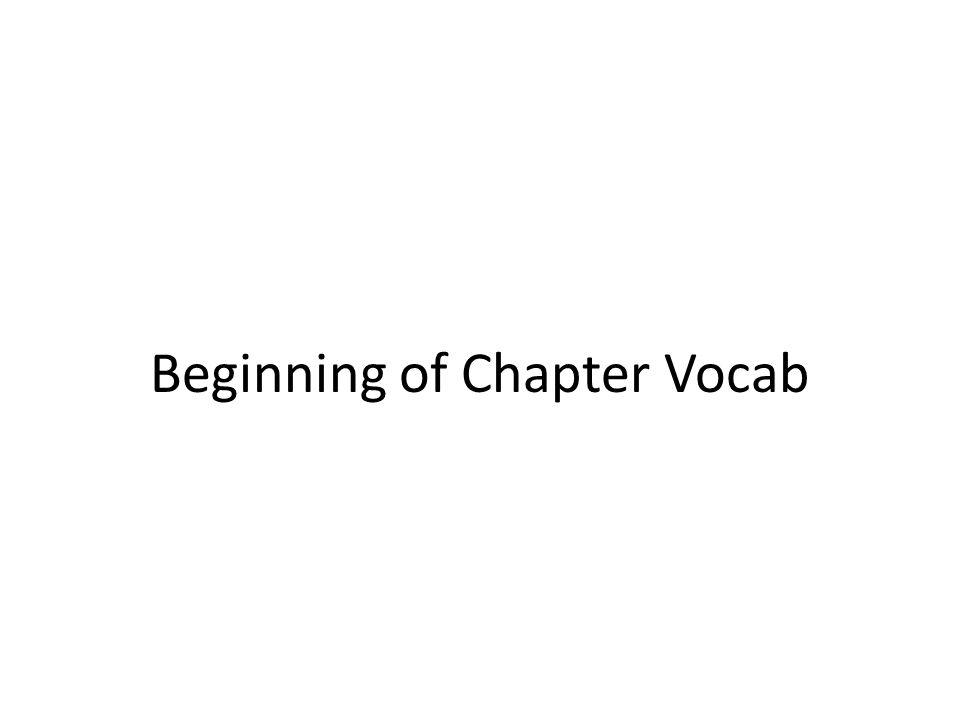 Beginning of Chapter Vocab