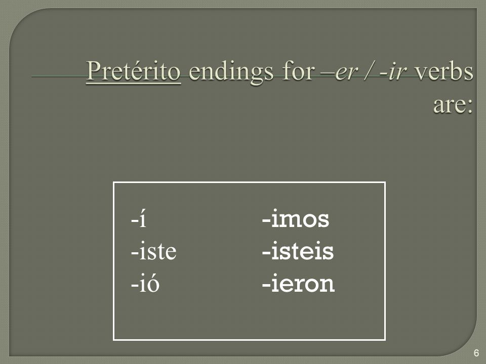 THE PRETERITE IS USED IN THE FOLLOWING SITUATIONS: THE IMPERFECT IS USED IN THE FOLLOWING SITUATIONS: For actions that can be viewed as single events For actions that were repeated a specific number of times For actions that occurred during a specific period of time For actions that were part of a chain of events To state the beginning or the end of an action For actions that were repeated habitually For actions that set the stage for another past action For telling time For stating one s age For mental states (usually) For physical sensations (usually) To describe the characteristics of people, things or conditions