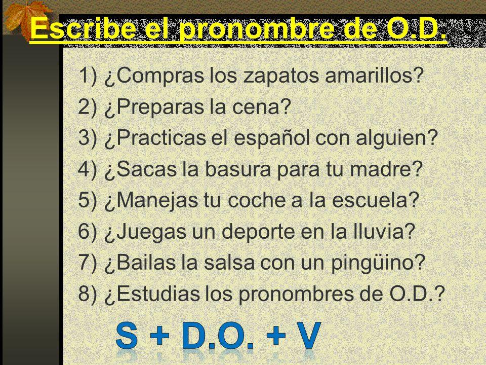 Subject agrees w/ verb Direct Object Pronouns yo tú él/ella/Ud Nosotros Ellos/as/U ds Subject me te lo, la nos los, las verb