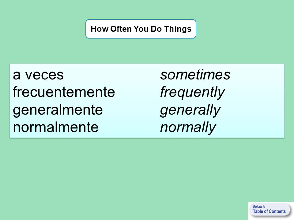 How Often You Do Things a veces sometimes frecuentemente frequently generalmente generally normalmente normally a veces sometimes frecuentemente frequ