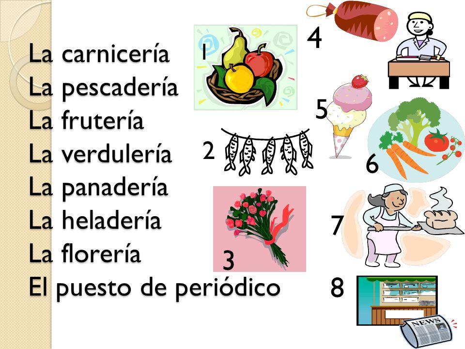 La carnicería La pescadería La frutería La verdulería La panadería La heladería La florería El puesto de periódico 1 2 3 4 5 8 7 6