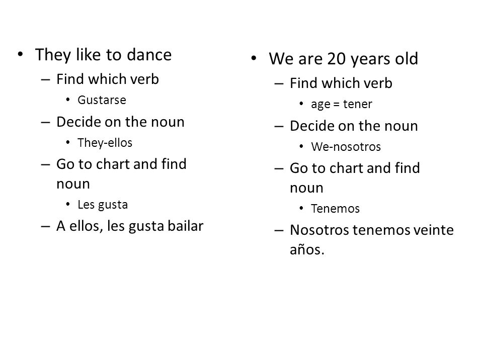 They like to dance – Find which verb Gustarse – Decide on the noun They-ellos – Go to chart and find noun Les gusta – A ellos, les gusta bailar We are 20 years old – Find which verb age = tener – Decide on the noun We-nosotros – Go to chart and find noun Tenemos – Nosotros tenemos veinte años.