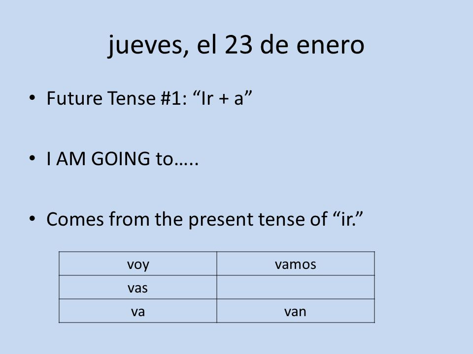 jueves, el 23 de enero Future Tense #1: Ir + a I AM GOING to…..