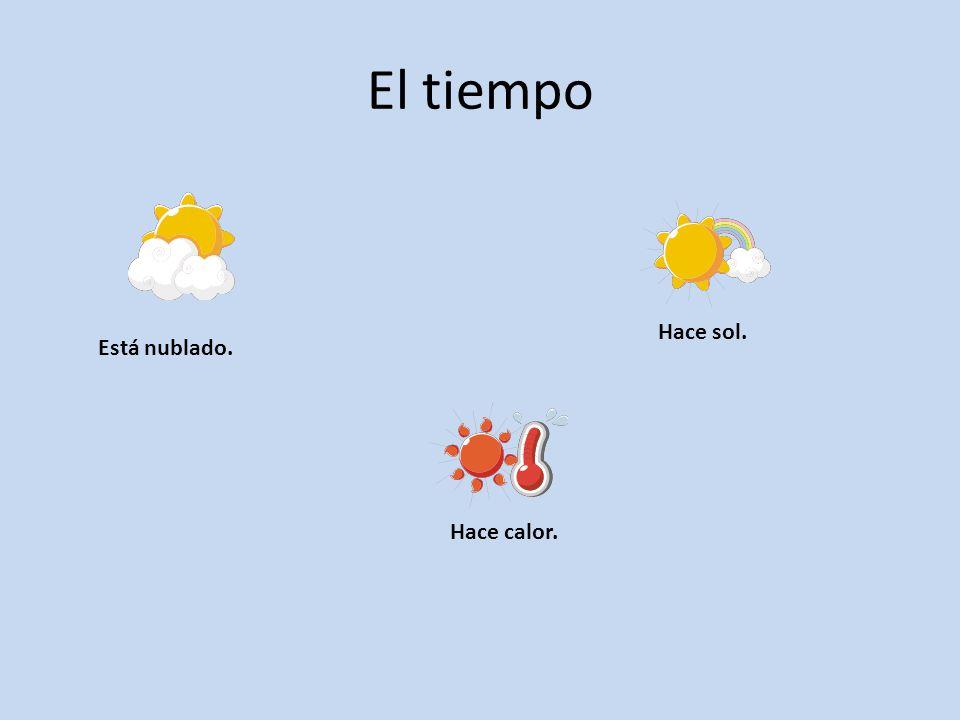 El tiempo Está nublado. Hace calor. Hace sol.