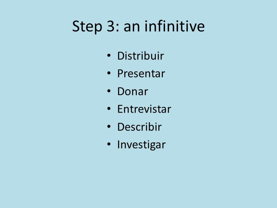 Step 3: an infinitive Distribuir Presentar Donar Entrevistar Describir Investigar