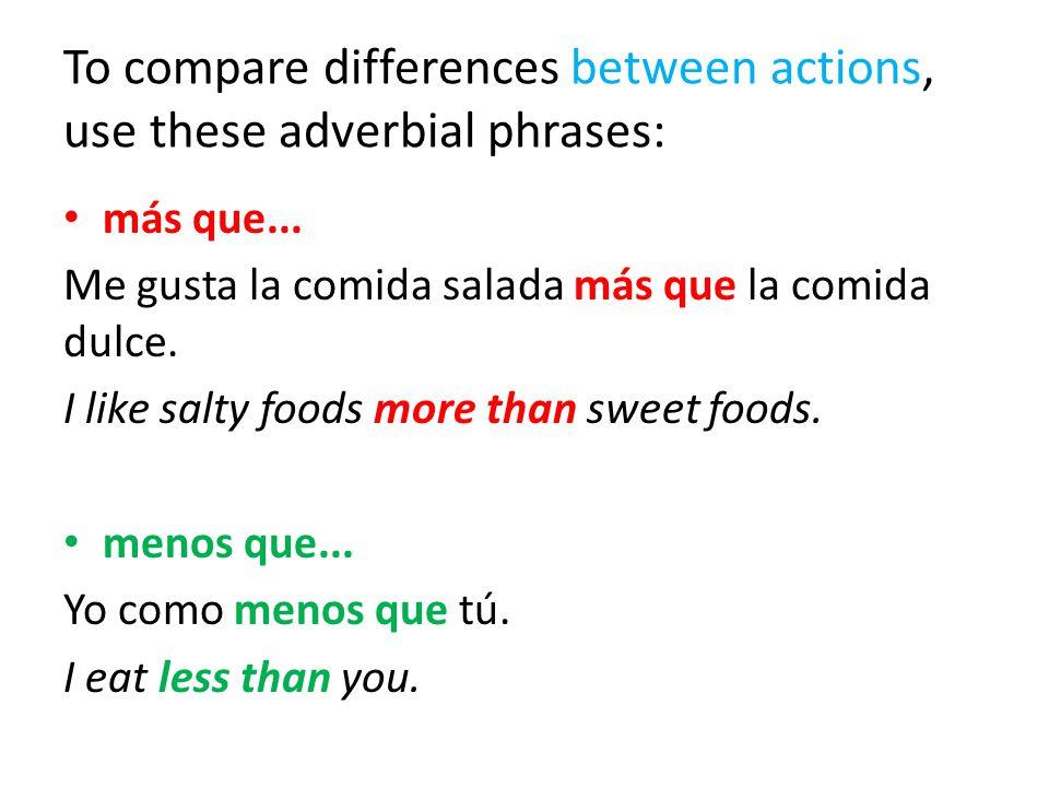 To compare differences between actions, use these adverbial phrases: más que... Me gusta la comida salada más que la comida dulce. I like salty foods