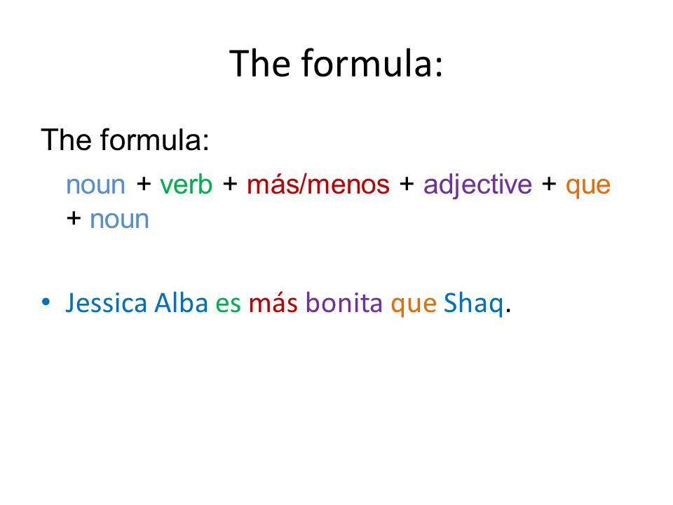 The formula: noun + verb + más/menos + adjective + que + noun Jessica Alba es más bonita que Shaq.