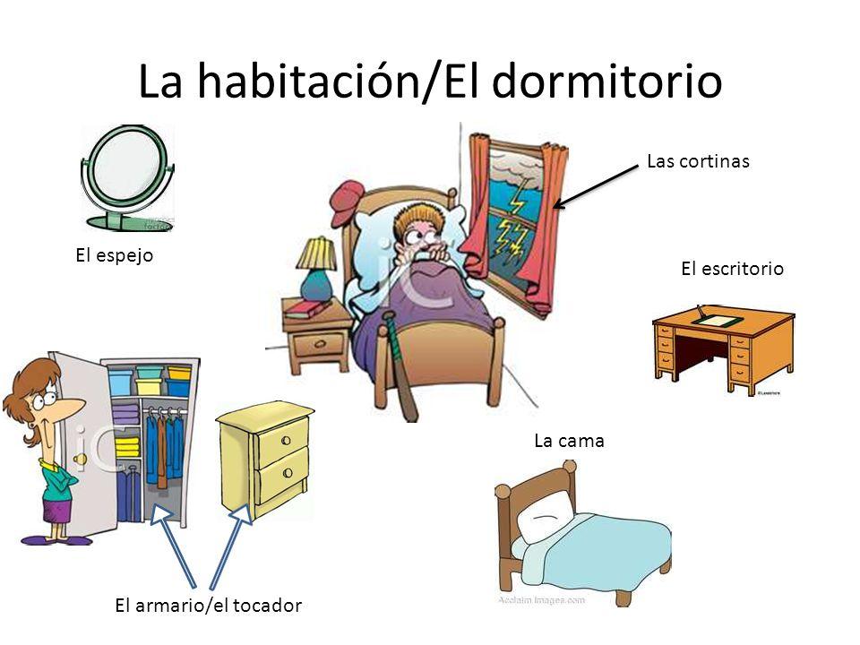 La habitación/El dormitorio El armario/el tocador La cama El escritorio Las cortinas El espejo