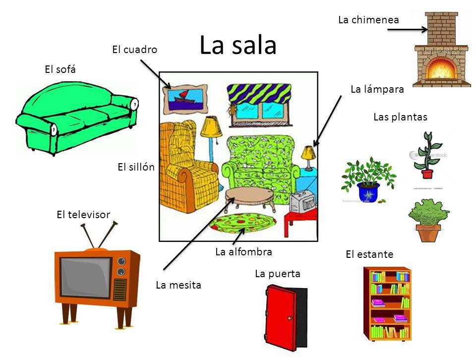 La sala El sofá El televisor La puerta Las plantas El sillón La alfombra La mesita La lámpara El cuadro El estante La chimenea