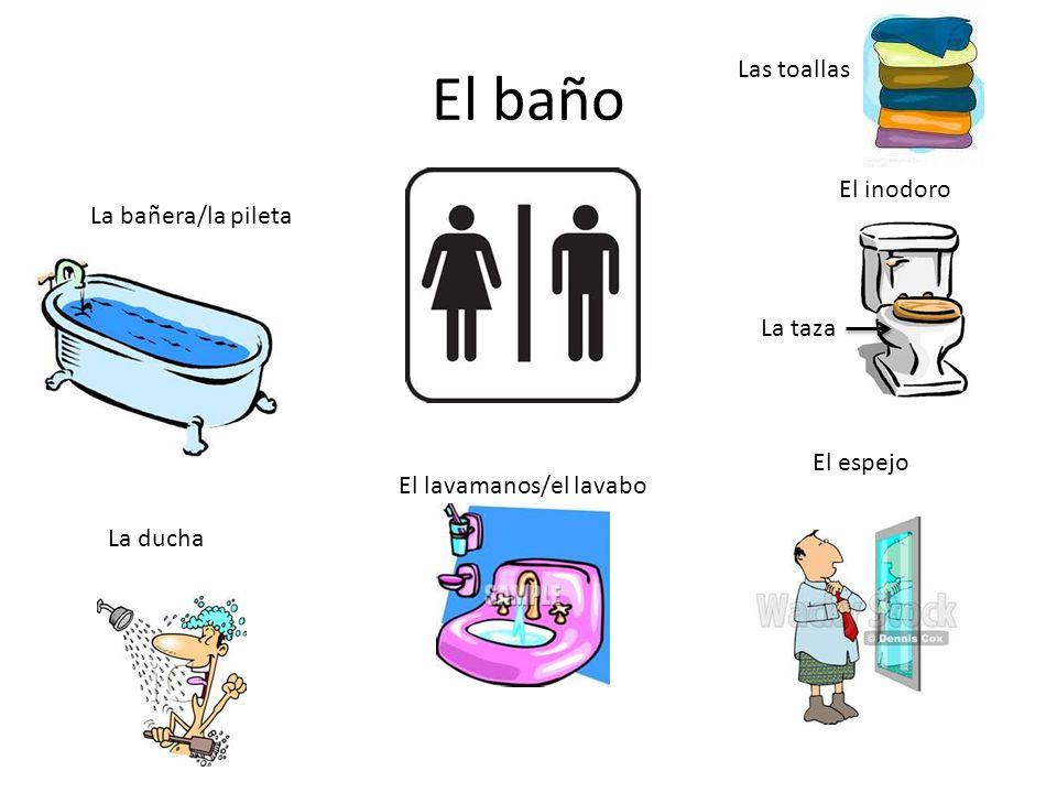 El baño La bañera/la pileta La ducha El lavamanos/el lavabo El espejo El inodoro Las toallas La taza