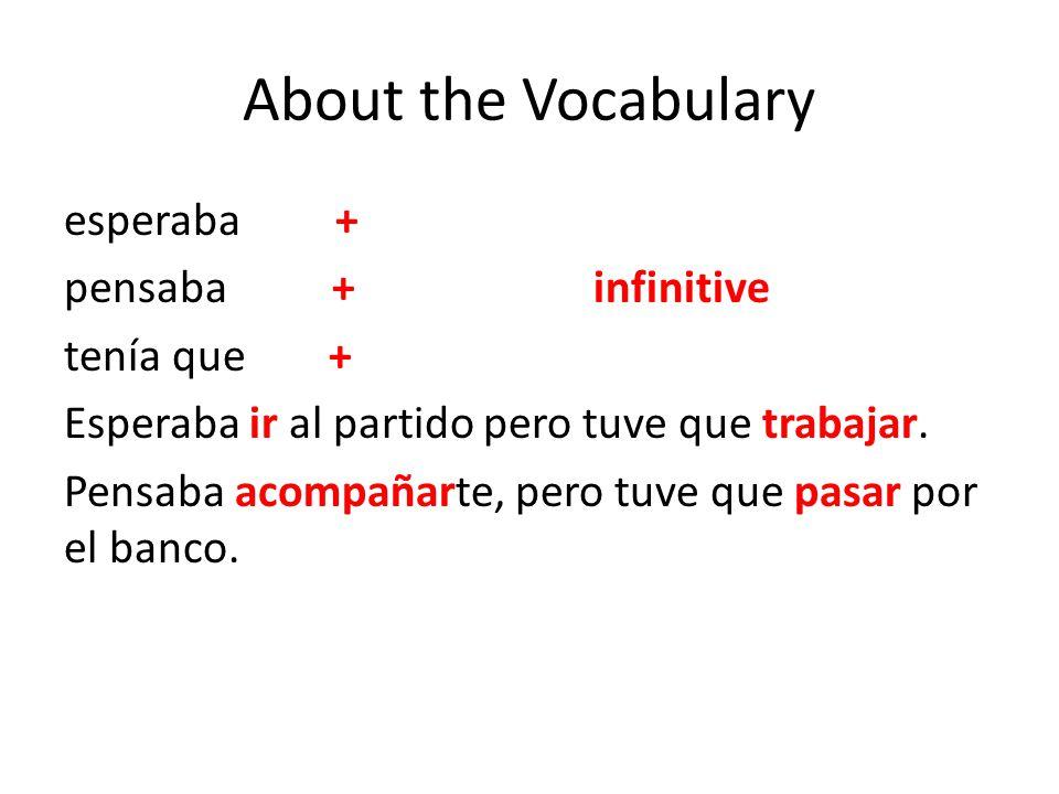 About the Vocabulary esperaba + pensaba +infinitive tenía que + Esperaba ir al partido pero tuve que trabajar. Pensaba acompañarte, pero tuve que pasa