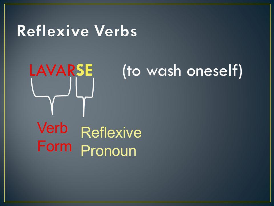 LAVARSE (to wash oneself) Verb Form Reflexive Pronoun