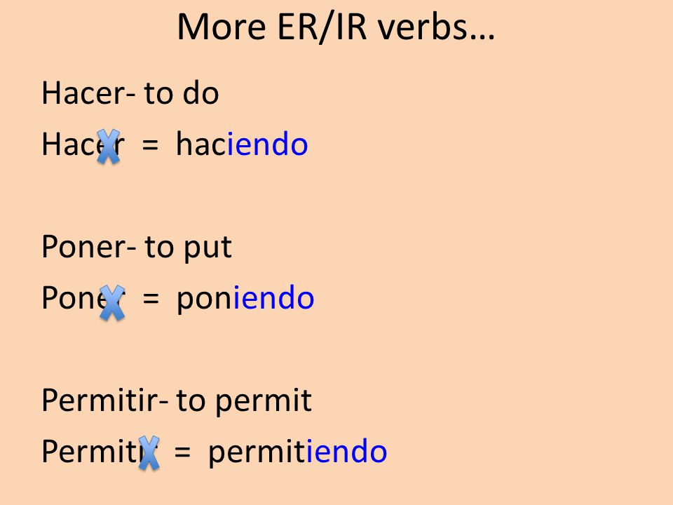 What if you have an ER/IR verb? Aprender- to learn We are learning the present progressive. Take off the ER and add –iendo Aprender = aprendiendo Noso