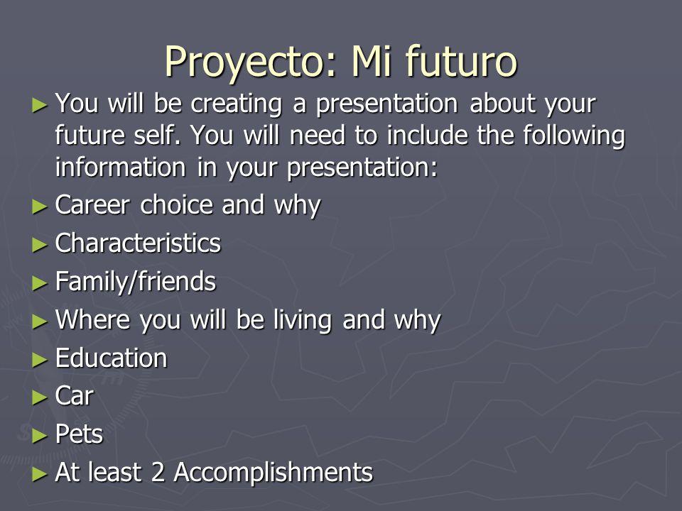 Pg.174 #4 Escribir Haz predicciones sobre el futuro, usando los verbos y la información dada.