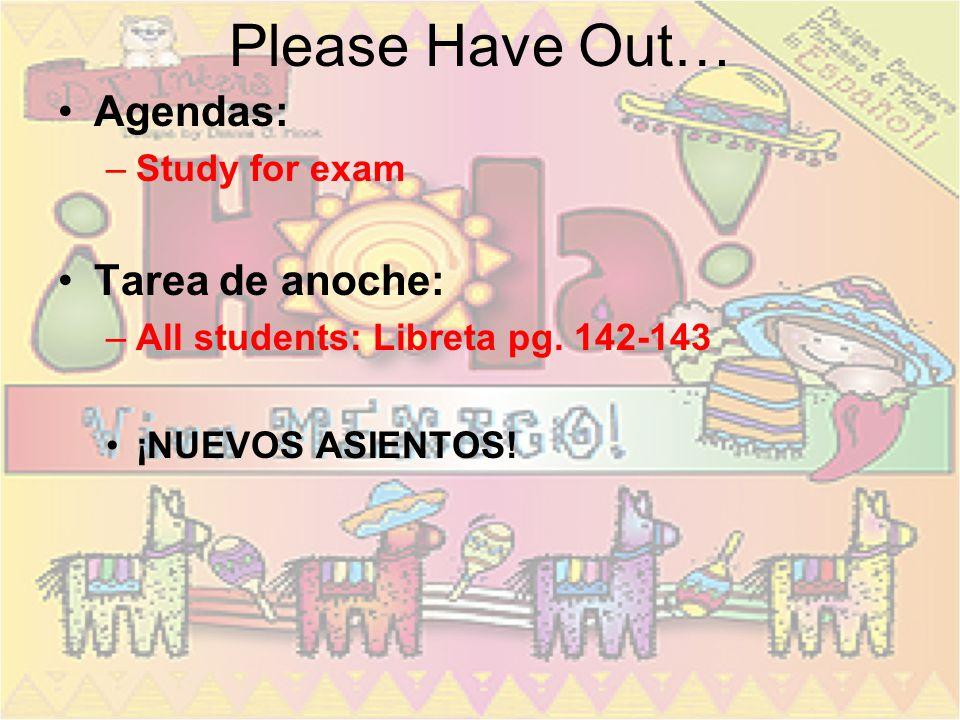 Please Have Out… Agendas: –Study for exam Tarea de anoche: –All students: Libreta pg.
