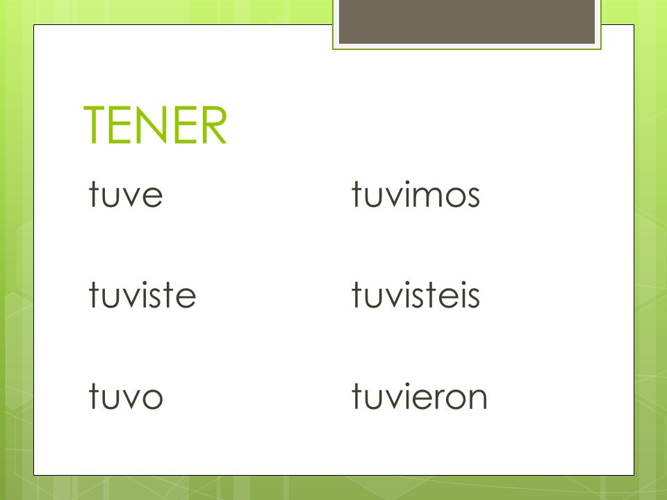 Irregular Preterite Verbs There is a whole set of irregular preterite verbs. These verbs have NO ACCENTS! They all have irregular stems. The endings f
