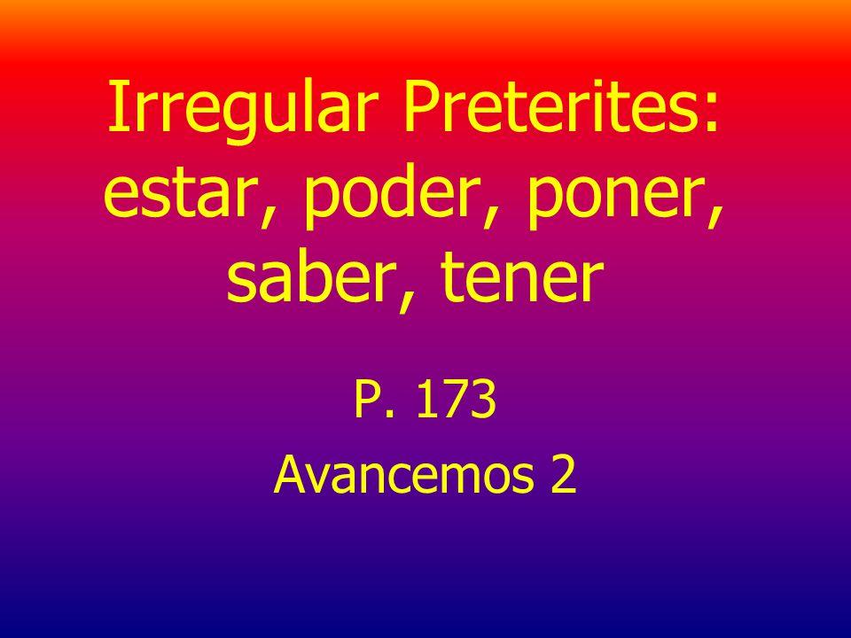 Irregular Preterites: estar, poder, poner, saber, tener P. 173 Avancemos 2