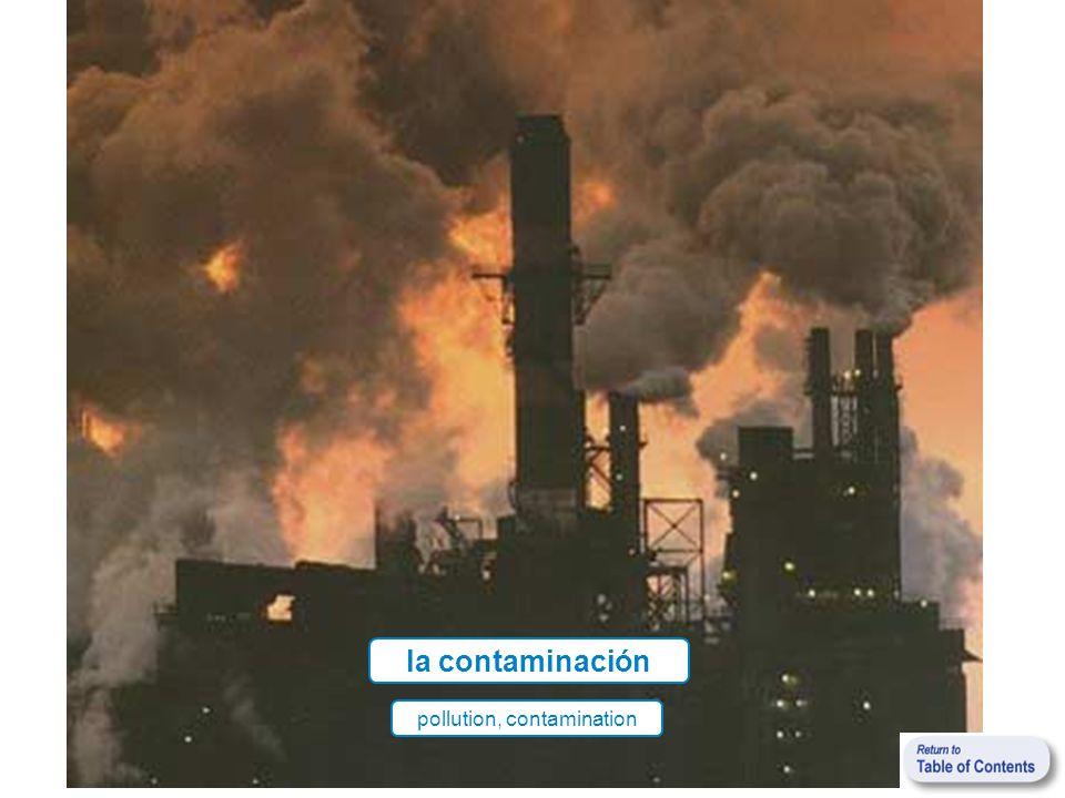 la contaminación pollution, contamination