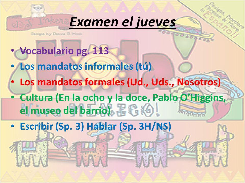 Examen el jueves Vocabulario pg.