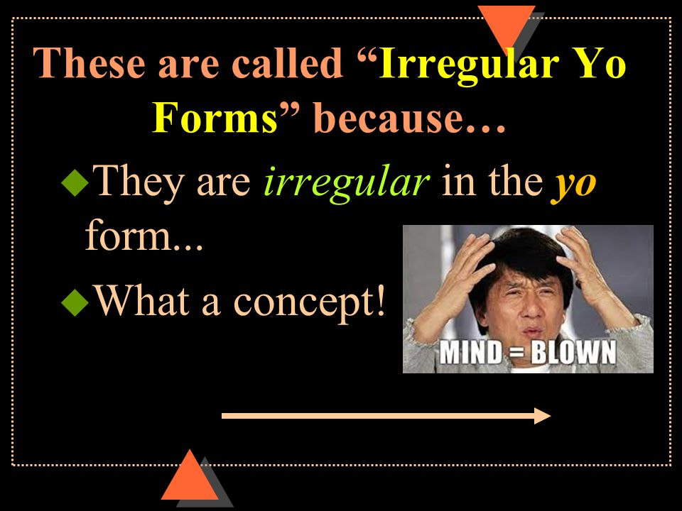 These are called Irregular Yo Forms because… u They are irregular in the yo form... u What a concept!