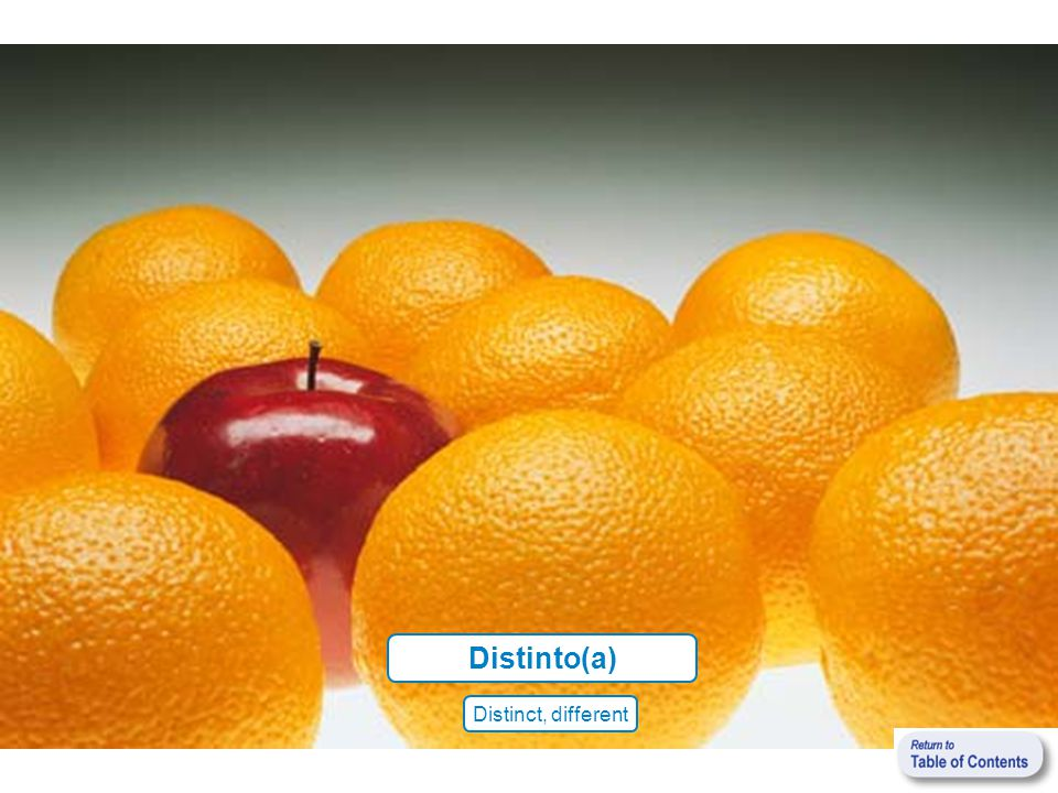 Distinto(a) Distinct, different
