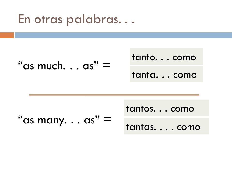 En otras palabras... as much... as = tanto... como tanta... como as many... as = tantos... como tantas.... como