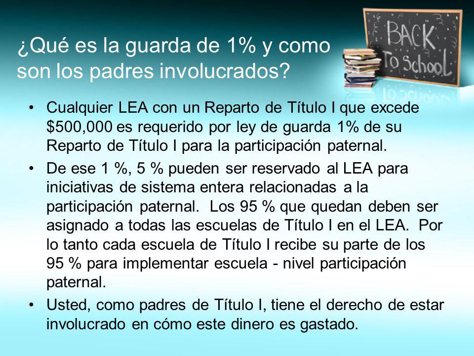 ¿Qué es la guarda de 1% y como son los padres involucrados? Cualquier LEA con un Reparto de Título I que excede $500,000 es requerido por ley de guard