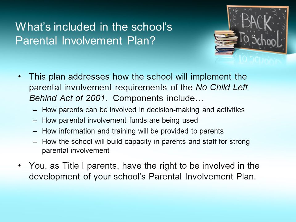 Whats included in the schools Parental Involvement Plan.
