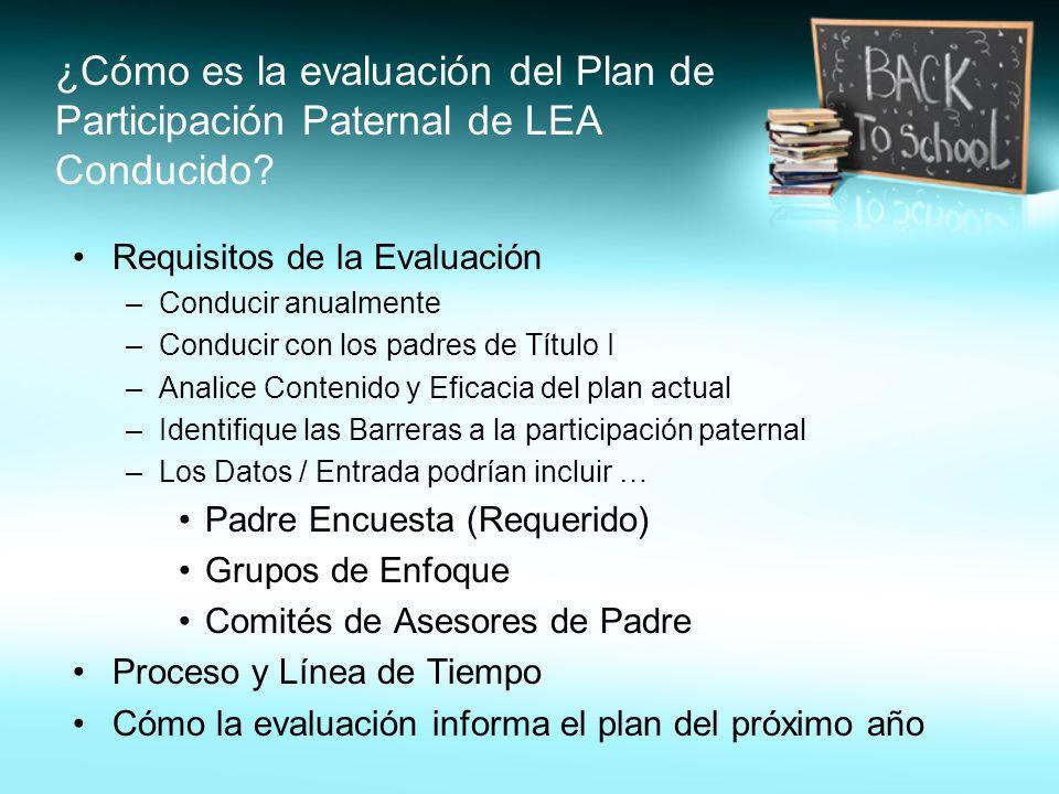 ¿Cómo es la evaluación del Plan de Participación Paternal de LEA Conducido.