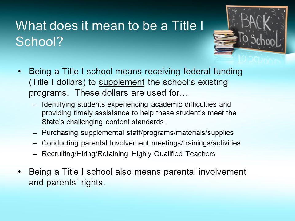 ¿Qué significa a ser una Escuela de Título I.