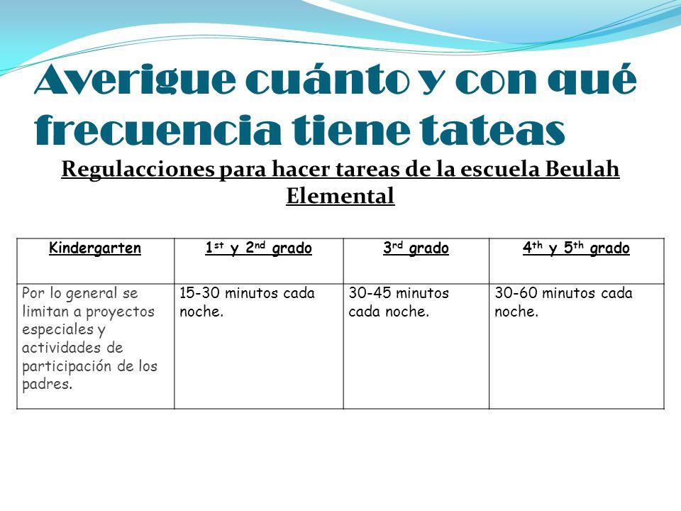 Averigue cuánto y con qué frecuencia tiene tateas Regulacciones para hacer tareas de la escuela Beulah Elemental Kindergarten1 st y 2 nd grado3 rd gra