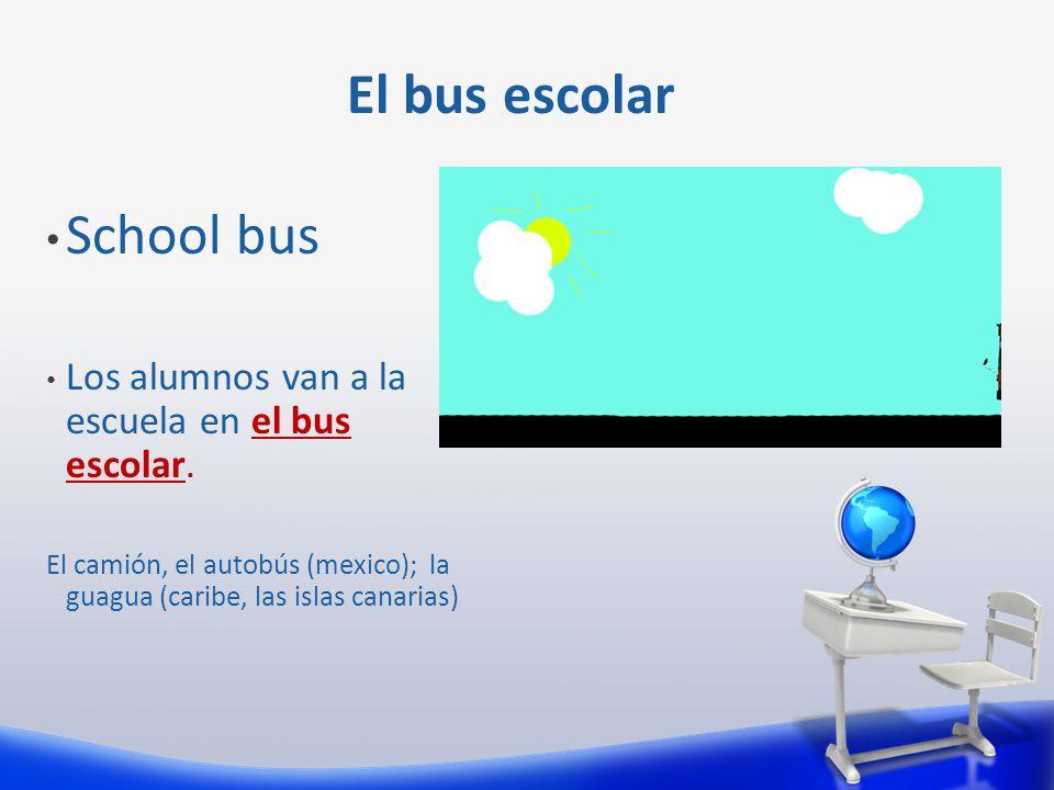 School bus Los alumnos van a la escuela en el bus escolar.
