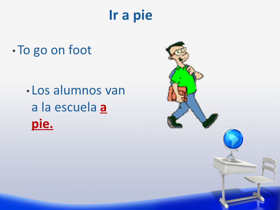 The contraction al: A = to el = the A + el = al Example: Voy al colegio.
