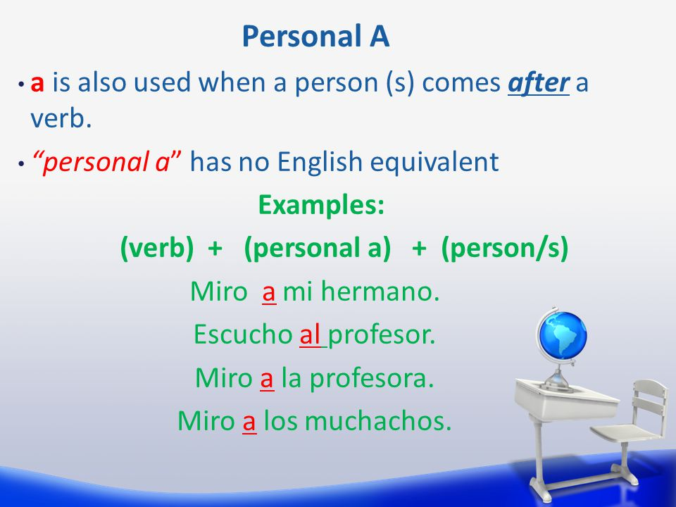 The contraction al: A = to el = the A + el = al Example: Voy al colegio.