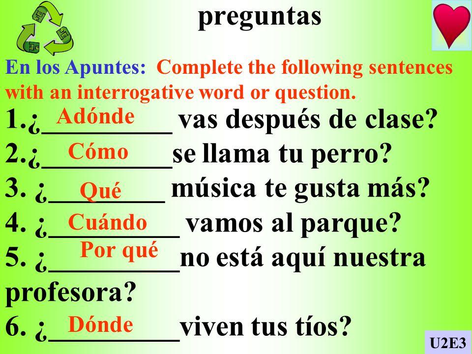 p. 164 / School activities En los Apuntes: Complete the following lists: Mis clases por la mañana Mis clases por la tarde U2E3