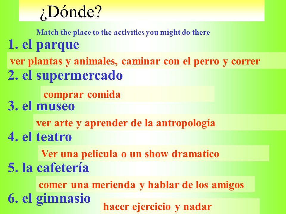 ¿Por qué? Miquelito has a lot of questions! Match the answer to each of the questions. 1. ¿Por qué vas al supermercado? 2. ¿Por qué corres y andas en