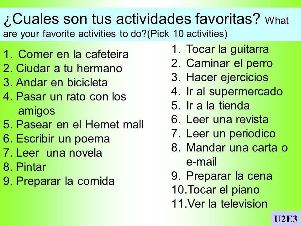 Verbos / lugares En los Apuntes: Match the activity with the place. 1.andar en bicicleta en la tienda 2.ver la televisión en el parque 3.leer una nove