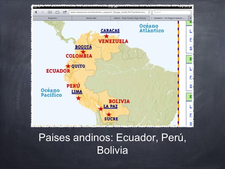 Paises andinos: Ecuador, Perú, Bolivia