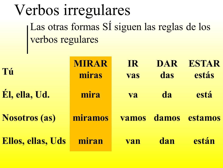 Verbos irregulares Los verbos irregulares no siguen un patron fijo Estos verbos tiene solo una forma en el presente Algunos verbos son ir, dar, estar DAR doy ESTAR estoy IR voy YO ¿?