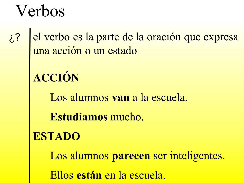 Verbos el verbo es la parte de la oración que expresa una acción o un estado ACCIÓN Los alumnos van a la escuela.