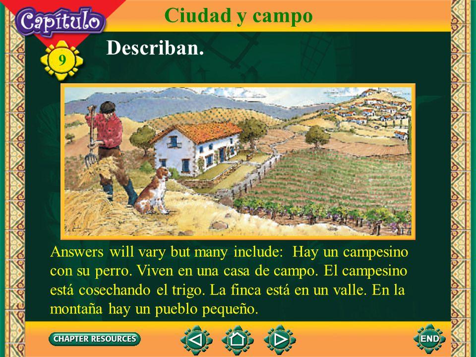 9 En el campo Ciudad y campo la pera el peral el huerto, la huerta la manzana los vegetales el manzano