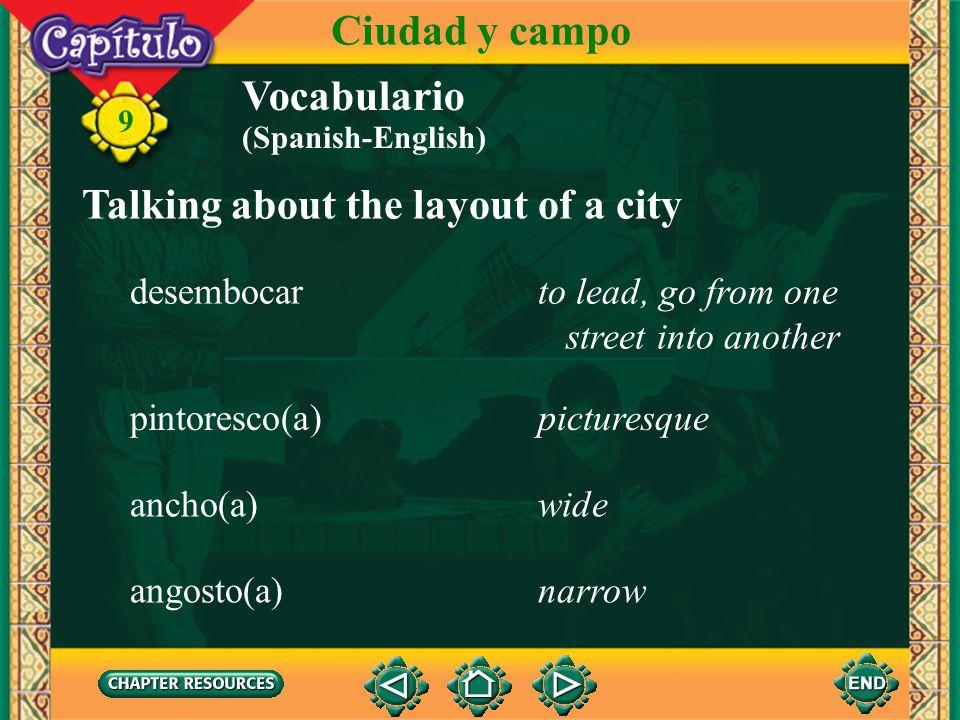 9 la acerasidewalk Talking about the layout of a city Vocabulario Ciudad y campo los peatonespedestrians el semáforotraffic light el cruce de peatones