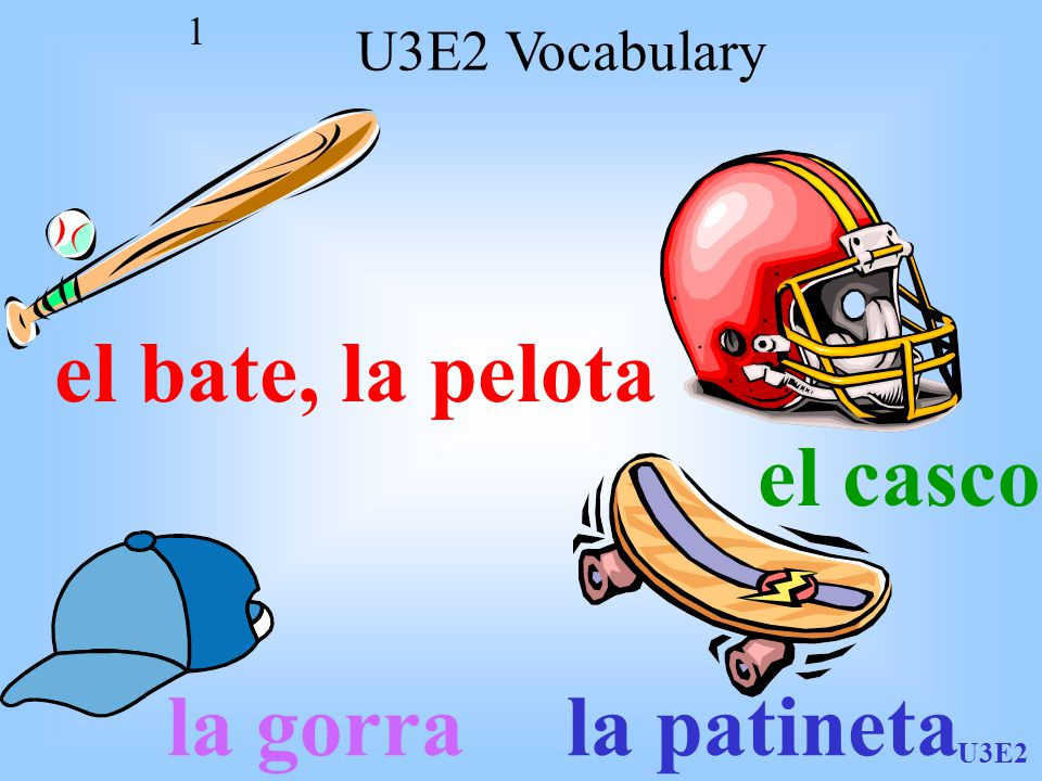 U3E2 1 el bate, la pelota el casco la gorrala patineta U3E2 Vocabulary