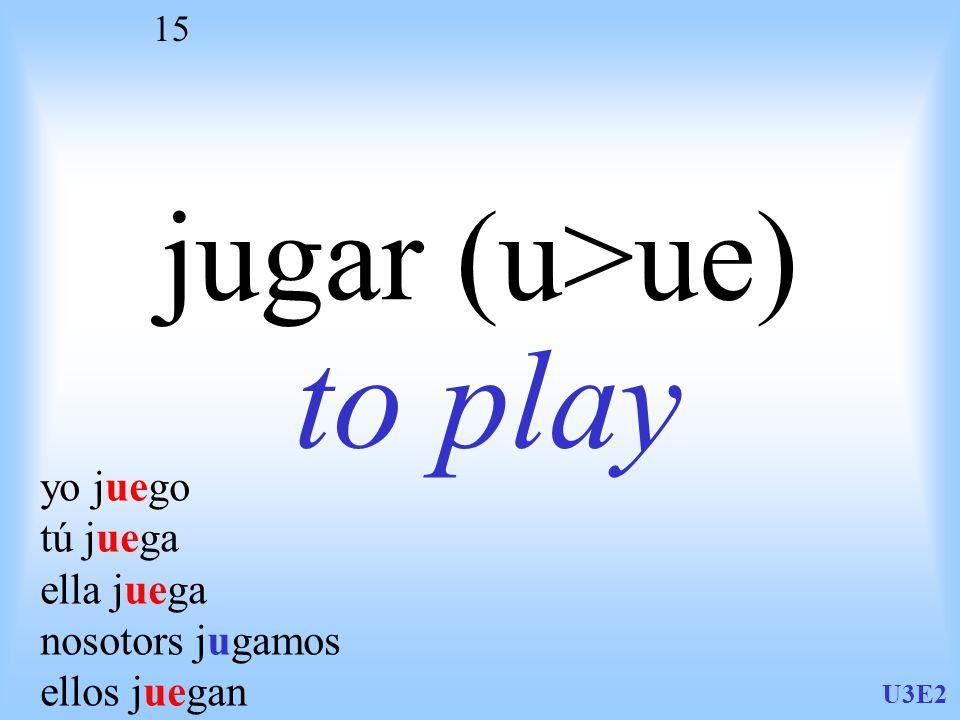 U3E2 15 jugar (u>ue) to play yo juego tú juega ella juega nosotors jugamos ellos juegan