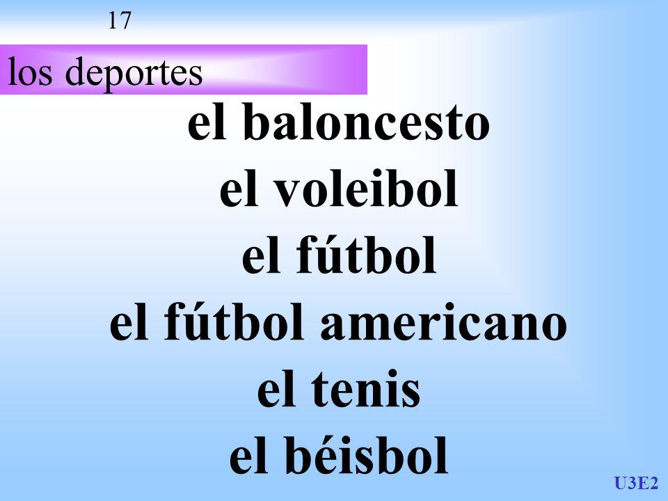U3E2 17 los deportes el baloncesto el voleibol el fútbol el fútbol americano el tenis el béisbol