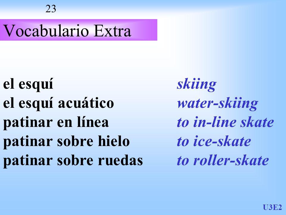 U3E2 23 Vocabulario Extra el esquí el esquí acuático patinar en línea patinar sobre hielo patinar sobre ruedas skiing water-skiing to in-line skate to ice-skate to roller-skate